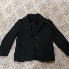 """Vintage green petite school boy blazer These are the measurements to the best of my abilities: Shoulders 13"""", chest 15"""" buttoned, sleeve from shoulder 16"""", length 20"""". Mark on chest pocket where patch used to be, for a very tiny lady or boy. Please do measurements before buying so you're not disappointed with fit. Jackets & Coats Blazers"""