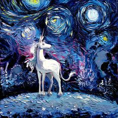 Last Unicorn Art - Fantasy Art - Starry Night - Fine art print - van Gogh Never Saw The Last - Art by Aja inches choose // Beyond Beautiful this painting is! Real Unicorn, The Last Unicorn, Unicorn Art, Unicorn Painting, Unicorn Stencil, Canvas Art Prints, Fine Art Prints, Canvas Poster, Print Poster