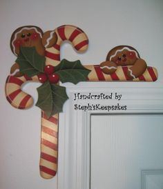 Hand Painted Gingerbread  and Candy Canes Door by stephskeepsakes, $15.95