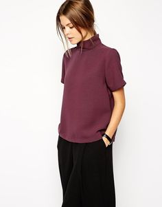 ASOS Top with Clean High Neck In Berry Size 10 38 Casual/Formal