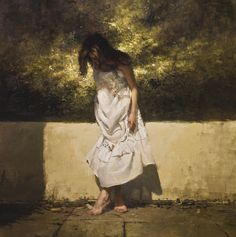 """Jeremy Mann """"The White Dress (Spring)"""" - 36 x 36 in. Oil on Panel 2012"""