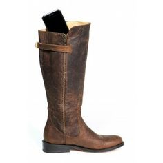 """""""Purse n' Boots"""" (!) Leather riding boot with pockets for your cell phone, credit cards, passport, etc."""