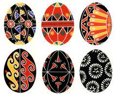modèles pour oeufs ukrainiens décorés à la main - hand made ukrainian egges patterns
