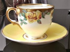 928c9bab1d Rare Vintage Salisbury Yellow Rose Teacup and saucer, Bone china teacup, vintage yellow teacup