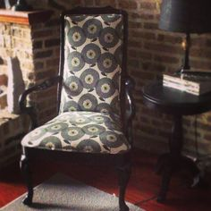 Reupholstered chair in Skinny Laminx fabric. @Heather Moore