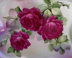 Boxed Set of 6 Notecards, 3 Designs, w ROSES from Hand Painted China