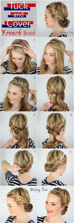 Tuck and Cover French Braid - I think even I might be able t.-Tuck and Cover French Braid – I think even I might be able to pull this one off…. Tuck and Cover French Braid – I think even I might be able to pull this one off. Up Hairstyles, Pretty Hairstyles, Wedding Hairstyles, Summer Hairstyles, French Hairstyles, Headband Hairstyles, Easy Hairstyles For Work, Summer Hairdos, Celebrity Hairstyles