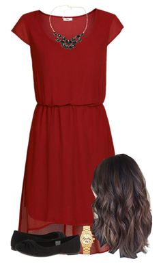"""""""Red, gold and black"""" by skirt-wearing-tomboy ❤ liked on Polyvore featuring ONLY, Chicnova Fashion, Rocket Dog and Michael Kors"""
