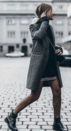 Jacqueline Mikuta + elegant yet casual fall style + tweed coat + fishnet tights + pair of buckled leather boots + ideal for those everyday fall mornings.   Coat: Sezanne, Sweater/Skirt/Tights: H&M, Boots: Saint Laurent....   Style Inspiration