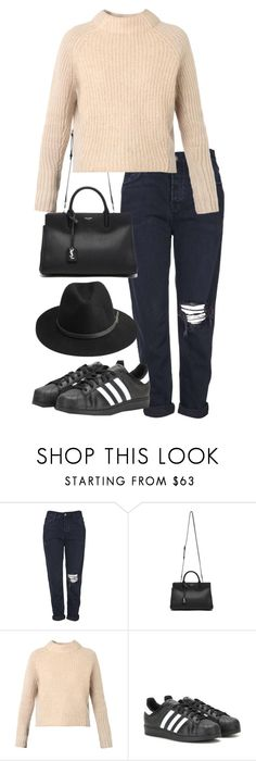 """""""Untitled #2504"""" by elenaday ❤ liked on Polyvore featuring Topshop, Yves Saint Laurent, Acne Studios, adidas and BeckSöndergaard"""