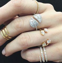 Anita Ko leaf & diamond coil ring