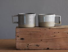 Sale READY MADE small mug pair. simple modern by vitrifiedstudio, $50.00