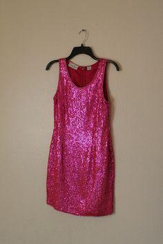 $ 185 CAD  vintage 1960s pink sequin wiggle dress cocktail by clothesmineded