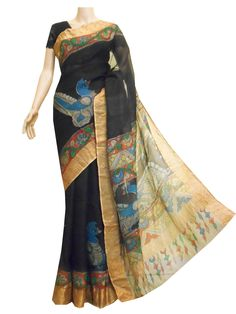 Kota silk saree with hand painted Kalamkari Kota Silk Saree, Silk Sarees, Saris, Blouse Online, Sarees Online, Designer Blouses Online, Kalamkari Saree, Saree Blouse, Indian Outfits