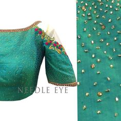 One of our most favourite colour and favourite work #stardustwork #coldshoulder #blouse #needleeye #bangalore