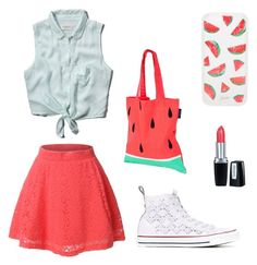"""Watermelon"" by olsoame on Polyvore featuring Abercrombie & Fitch, LE3NO, Sunnylife, Converse, Isadora and Sonix"