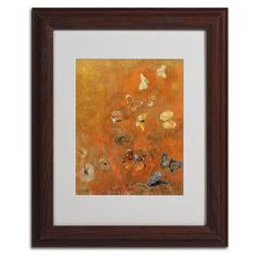 """Trademark Art """"Evocation of Butterflies 1912"""" by Odilon Redon Framed Painting Print Size: 14"""" H x 11"""" W x 0.5"""" D, Frame Color: Brown"""