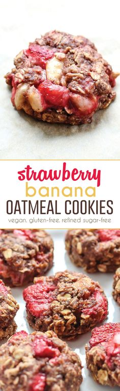 Healthy vegan and gluten-free friendly cookies! The strawberry banana oatmeal combo is so good. Plus these guys are refined sugar-free.