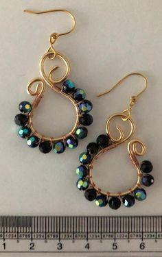 Wire Wrapped Earrings, Wire Earrings, Unique Earrings, Crystal Earrings, Earrings Handmade, Drop Earrings, Handmade Jewellery, Jewellery Box, Personalised Jewellery