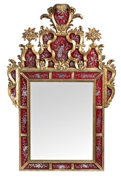 Dieciochesco Venetian style mirror with etched mirrors and carved and gilded wood, from the first half of the twentieth century
