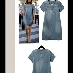Jean Dress Light Blue jean dress with pearl beads/ I order an large but fit like an medium Dresses