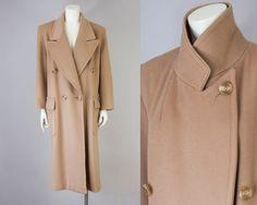 80s Vintage Perry Ellis Long Wool Coat. Oversized Winter Jacket (M) by vintageonlythebest on Etsy