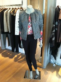 Zip-Up Jacket, Animal Print Top & Black Skinny Pants