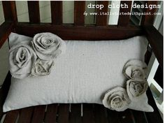 Rosette Drop Cloth Pillow by dropclothdesignco on Etsy, $27.00