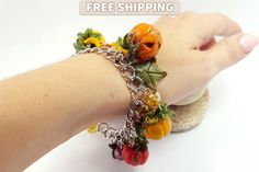 Halloween Bracelet  Autumn  Orange Pumpkin  Vintage by SweetyBijou
