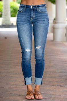 ac42abc4678 KANCAN Distressed Skinny Fit Raw Hem Jeans Shop Simply Me Boutique SHop SMB  – Simply Me