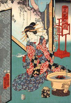 江戸時代の丸火鉢(『当盛美人揃之内』「しんさがみや、とこ」二代歌川国貞 画)の拡大画像