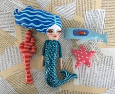 Mermaid Dolls, New Dolls, Mermaids, Folk Art, Mixed Media, Crochet Hats, Studio, Photos, Crafts