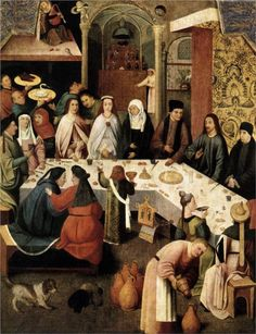++ The Marriage Feast at Cana - Hieronymus Bosch - - Note the LONG WHITE TOWEL THE SERVER IS WEARING as a BALDRIC