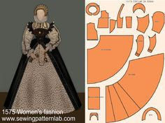 Elizabethan Dress, Elizabethan Fashion, Victorian Fashion, Historical Costume, Historical Clothing, Barbie Costume, 18th Century Fashion, Gown Pattern, Costume Patterns