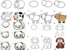 Lernen Sie und Ihr Kind Tiere zeichnen für einen Zoo oder Bauernhof