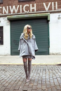 d3861f1fead Blair Eadie is wearing grey Highland over the knee boots from Stuart  Weitzman Thigh High Boots