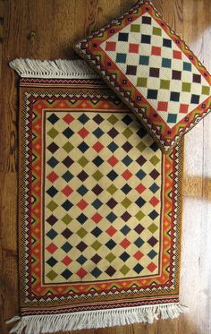 our Zagros pattern for a small rug and pillow - the perfect pair for chair and ottoman