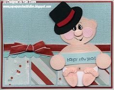I couldn't resist making one of these cute little new years baby card. Sorry I didn't get pictures taken for this tutorial, but you all sho...
