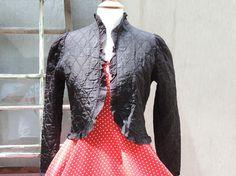 Vintage Ladies Evening Jacket Black Quilted Ruffled Trim