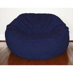 $163 Navy Blue Cotton Twill 36-inch Washable Bean Bag Chair