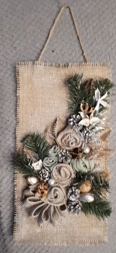 Fabric flowers are great, aren't they? Fabric flowers a Handmade Christmas Tree, Rustic Christmas, Christmas Wreaths, Christmas Decorations, Christmas Ornaments, Burlap Flowers, Crochet Flowers, Paper Flowers, Making Fabric Flowers