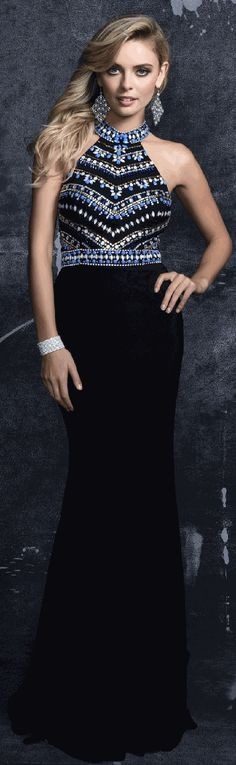 Prom Dresses Evening Dresses by NINA CANACCI<BR>anc1266<BR>Jewel neckline jersey dress with stones and bead work on bodice and keyhole back.