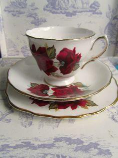 English Rose tea cup trio
