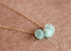 mint glass trio gold necklace