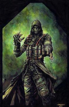 """Scarecrow"" Based On The Arkham Video Game by Johnny Desjardins ☠️ Batman Arkham City, Batman Arkham Knight, Gotham City, Scarecrow Batman, Scarecrow Mask, Dc Comics, Batman Comics, Batman Universe, Universe Art"