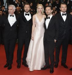 The Great Gatsby (2013) | International Premiere: Carey Mulligan (Daisy Buchanan) in Dior on the Cannes red carpet with director Baz Luhrmann and her leading men Joel Edgerton (Tom Buchanan), Tobey Maguire (Nick Carraway) and Leonardo DiCaprio (Gatsby).