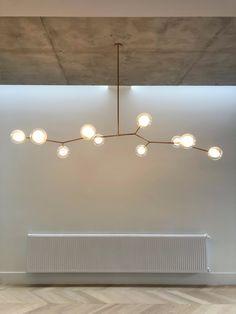 Satin gold with hand-blown glass bubble diffuser Kitchen Lighting, Chandelier, Lighting Inspiration, Interior Design, Home Lighting, Pendant Lamp, Interior, Luxury Lighting, Light Fixtures