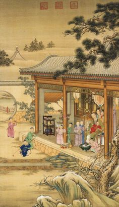 Emperor Qianlong's Pleasure during Snowy Weather. From Chiumei Ho: The Glorious Reign of Emperor Qianlong, London Painting by Giuseppe Castiglione Japanese Drawings, Japanese Art, Japanese Style, Chinese Painting, Chinese Art, Chinese Style, Art Chinois, Art Painting Gallery, Art Gallery