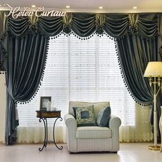 Helen Curtain Set Thick Velvet Blackout European Style Living Room Curtain Luxury Valance Curtains With Bead Curtain For Bedroom. Yesterday's price: US $104.00 (85.56 EUR). Today's price: US $69.68 (57.59 EUR). Discount: 33%.