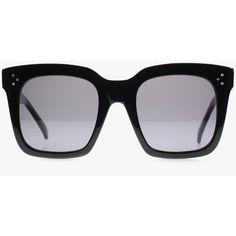 Celine Tilda ($345) ❤ liked on Polyvore featuring accessories, eyewear, sunglasses, black lens sunglasses, celine sunglasses, black glasses, thick lens glasses and oversized black sunglasses